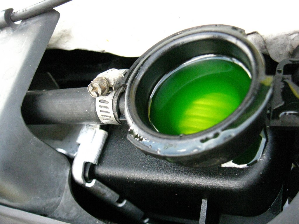 Green coolant in a car radiator