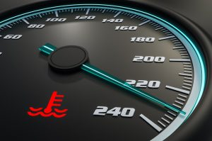 An engine warning light on the dashboard indicates the engine is overheating.