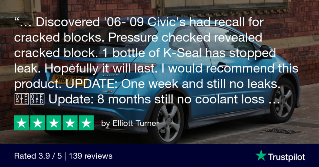 A satisfied customer review: 1 bottle of K-Seal fixed the cracked block in his Honda Civic